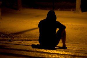 Man sitting depressed