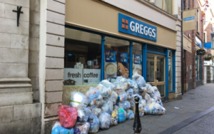 food piled up outside Greggs